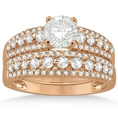 Petite Three-Row Diamond Bridal Set in 14k Rose Gold (0.80ct)-Allurez.com