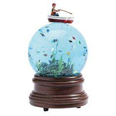 Premium Traditional Fisherman Glitter Water Fishing Boat Snow Globe Office Gift