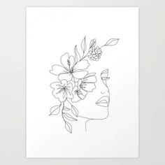 Design your everyday with art prints you'll love. Cover your walls with artwork and trending designs from independent artists worldwide. Diy Embroidery Flowers, Embroidery Art, Beauty Illustration, Art Sketches, Art Drawings, Flower Pattern Design, Line Art Tattoos, Minimalist Art, Printable Wall Art