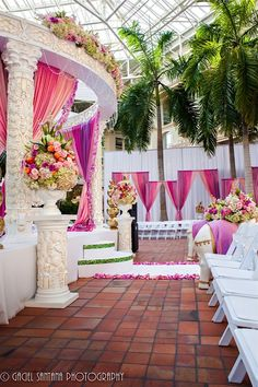 Gorgeous Asian Wedding Ceremony Decorations - white pillar mandap with vibrant purple and magenta drapes and flower bouquets Indian Wedding Decorations, Wedding Ceremony Decorations, Wedding Themes, Wedding Ideas, Indian Weddings, Flower Decorations, Wedding Designs, Wedding Venues, Tamil Wedding