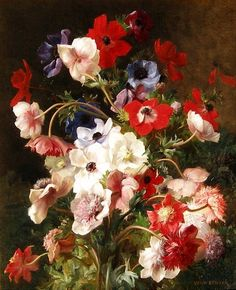 Jean Benner  Still Life of Flowers  19th century  - for more inspiration visit http://pinterest.com/franpestel/boards/