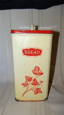 Vintage Upright Tin Bread Box Cannister with Pull Out Tray