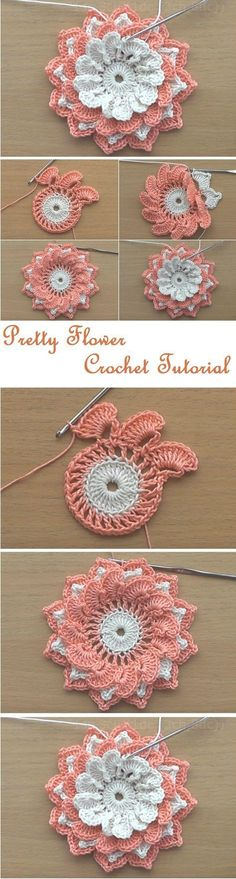 "HUZUR SOKAĞI (Yaşamaya Değer Hobiler) ""Crochet Flowers Tutorial by misty"", ""Free crochet pattern for small flower applique."", ""How to knit crochet fl Crochet Flower Tutorial, Crochet Flower Patterns, Crochet Motif, Crochet Designs, Crochet Doilies, Crochet Stitches, Knit Crochet, Crochet Roses, Flower Applique"