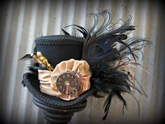 The White Rabbit's cool cousin The Black Rabbit Mini Top Hat, Alice in Wonderland, Tea Party Hat, Steampunk Hat, Gear Hat, Mad Hatter Hat