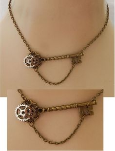 Gold Steampunk Key & Gears Strand Necklace Jewelry Handmade NEW Adjustable  #Handmade #Pendant