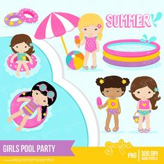 GIRLS POOL PARTY clipart set : 30 Individual Graphics & 1 Background    •PNG with Transparent Background Images are high quality 300 DPI , 3000 pixels 10