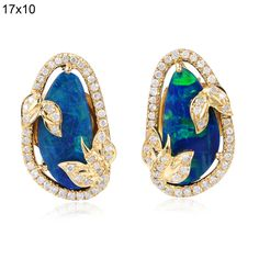 3.36ct Opal Pave Diamond Leaf Design Stud Earrings 18k Solid Yellow Gold Jewelry   Jewelry & Watches, Fine Jewelry, Fine Earrings   eBay!