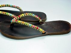 Sandals SALE Greek Leather Sandals - Boho Sandals - Leather Flip Flops - Handmade Sandals - Embellished Flat Sandals - Flat Sandal Beaded   Steal the show and shine with th... #clothing #shoes #women
