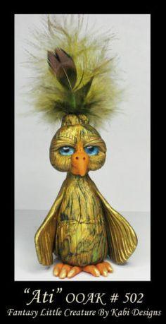 Fantasy Little Bird DollHouse Art Doll Polymer Clay CDHM OOAK IADR Ati miniature