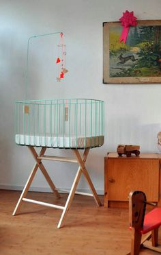Baby crib - mint green. By &Me.