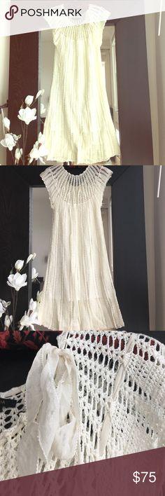 BCBGMAXAZRIA Ivory Crochet Midi Dress Cap sleeve crochet Midi Dress with bow detail at neckline. Slip dress layered under. Great condition. BCBGMaxAzria Dresses Midi