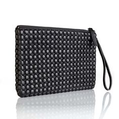 Leather that looks like Bubble Wrap! Cool leather ipad case / clutch with wrist loop...