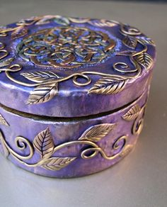 Purple Box with Gold Celtic Knot and Vines