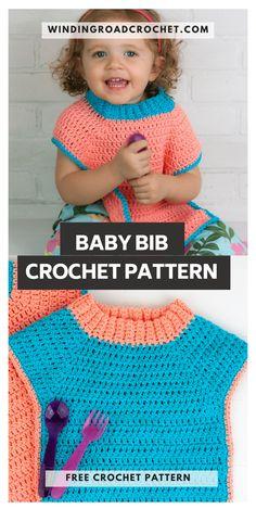 Crochet Baby Bibs, Crochet Baby Clothes, Crochet For Kids, Easy Crochet, Free Crochet, Crocheted Hats, Crochet Things, Baby Girl Dress Patterns, Baby Clothes Patterns