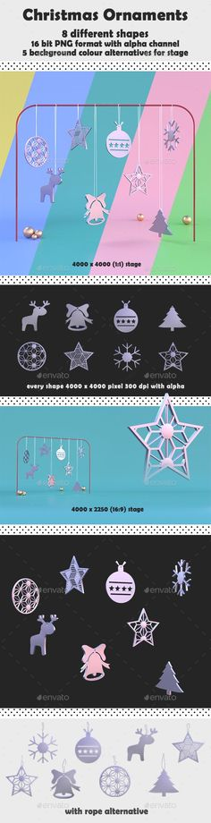 Buy Christmas Ornaments by kahramankavas on GraphicRiver. Christmas Ornaments Decoration 8 different ornaments shape with stage versions 24 images in total 16 bit PNG files wi. Christmas Flyer, Christmas Tree, Christmas Ornaments, Wallpaper Backgrounds, Colorful Backgrounds, Thursday Motivation, 3d Background, Alpha Channel, Happy Thursday