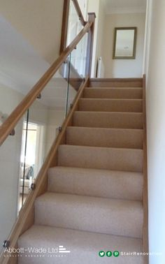 An Abbott-Wade inline Oak & Glass staircase - Panissue Share Glass Stair Balustrade, Stair Banister, House Staircase, Banisters, Staircases, Stair Bannister Ideas, Basement Stair, Staircase Storage, Staircase Makeover