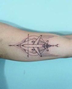 Airplane by Karry at Iris Tattoo in Miami FL - Tattoos - Iris Tattoo, Map Tattoos, Body Art Tattoos, Cool Tattoos, Travel Tattoos, Tatoos, Aviation Tattoo, Aircraft Tattoo, Reddit Tattoo