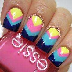 Chevron nails #manicure #nailart #nails #chevronnails #lusterlacquer