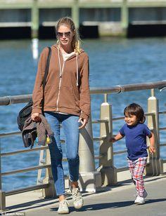 Victoria's Secret model Doutzen Kroes enjoys a day at the park with her cute son