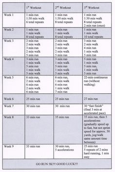 Cindy's 5k Training Plan // It might take me twice as long to be able to run for this long... but it's a good transition to running. I want to try running again this spring.