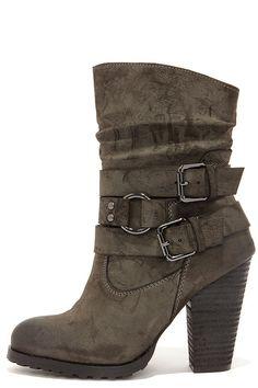 LuLu's - Tumbling Act Khaki Suede High Heel Mid-Calf Boots - $47.00