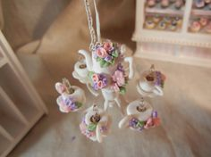Dollhouse Miniature - Shabby Chic Working Style Tea Set Chandelier - 1/12th scale