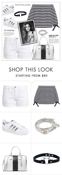 """""""J.Crew Off-the-shoulder striped cotton-jersey top"""" by biange ❤ liked on Polyvore featuring Frame, J.Crew, adidas, Lizzy James and MICHAEL Michael Kors"""