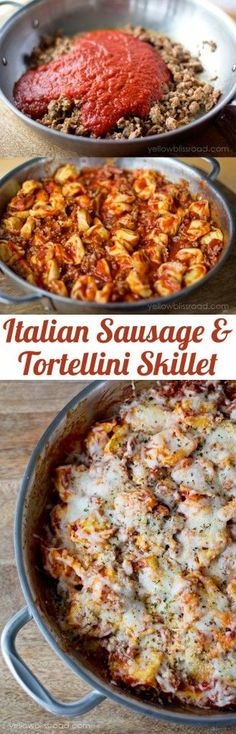 Italian Sausage & Tortellini Skillet recipe. This recipe is a one pan dish that you definitely want to try. We can't get enough of her delicious cheesy and saucy pasta recipe.