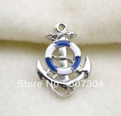 bule enamel anchor with lifebuoy charms,rhodium plated,10pcs a lot,free shipping-in Charms from Jewelry on Aliexpress.com