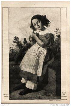 """Mädchenbildnis (J.Hübner)   - Druck , entnommen aus """"die Gartenlaube"""" , 1920"""