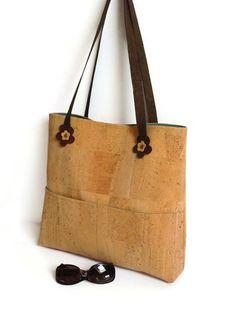 Cork Bag Natural Eco-friendly Large Shoulder Bag by MyCottonHouse
