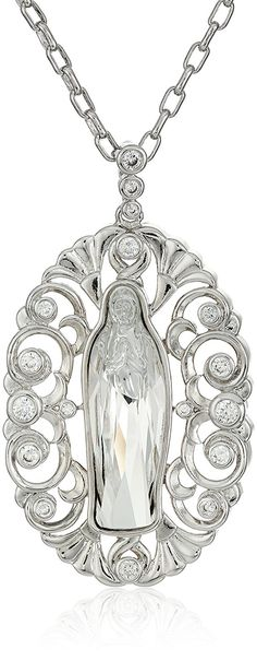Swarovski Crystal Virgin Mary with Swirl Accent Pendant Necklace, 18' *** Want additional info? Click on the image.-It is an affiliate link to Amazon. #Necklace