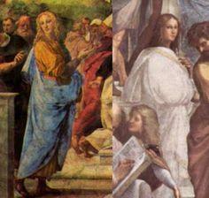 Raffaello._Angelo_del_La_Disputa_e_Kalogathia_de_La_Scuola_di_Atene L'angelo della Disputa e la figura biancovestita della Scuola di Atene a confronto (530×504)