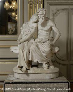 "Jean-Baptiste Hugues: ""Oedipus at Colonos"", 1885, Marble group, Dimensions: H. 181; W. 136; D. 100 cm, Current location: Paris, Musée d'Orsay."
