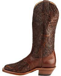 Boulet Hand Tooled Leather Cowgirl Boots - Square Toe - Sheplers
