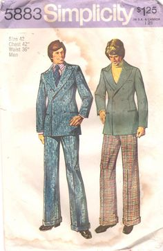 Simplicity 5883 1970s Mens Mod Double Breasted Lined Jacket and Cuffed Pants vintage sewing pattern by mbchills