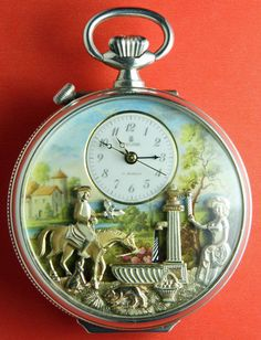 Vintage Reuge Musical Sterling Silver Pocket Watch with Animation. Never seen this before.