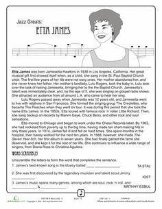 Worksheets Music History Worksheet worksheets comprehension and music on pinterest jazz greats etta james