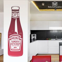 Within the pop icons that left us Warhol, a classic for our kitchens is the pot of Heinz Ketchup. Ketchup, Pop Art, Warhol, Art Mur, Kitchen Wall Decals, Kitchen Collection, Wall Stickers, Bottle, Heinz