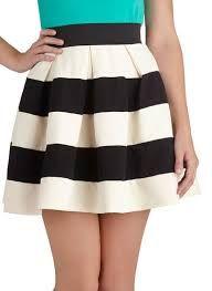 Image result for black and white wide stripe skirt
