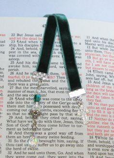 Emerald Green Velvet Ribbon Bookmark Swarovski by WhispySnowAngel, $10.00