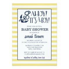 Ahoy, It's a Boy! Nautical Baby Shower 5x7 Paper Invitation Card