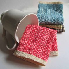 Hand Woven Little Meg Dishcloth Pink by CherieWheeler on Etsy, $10.00