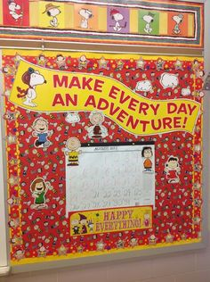 "Cool idea!  Use a solid background so the board isn't so ""busy"".....cute Snoopy still-shots banner above."