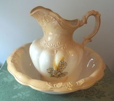 Wash Bowl and Pitcher Set Daisies and Wheat Ironstone England 1890 Creme Latte