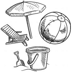 Beach Bucket And Other Summer Vacation Equipment Coloring Pages : Best Place to Color Summer Coloring Pages, Beach Bucket, Online Coloring, Art Plastique, Summer Colors, Vacation, Buckets, Wallpaper, Arts