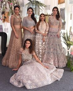 Falguni and Shane peacock Studded shimmery lehengas in nude tones Indian Wedding Outfits, Bridal Outfits, Indian Outfits, Bridal Dresses, Mehndi, Henna, Indian Attire, Indian Ethnic Wear, Indian Designer Outfits