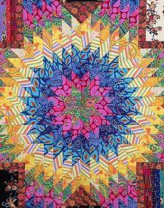 close up, Star of Bethlehem quilt by Marsha Burdick. Kaffe Fassett fabrics.