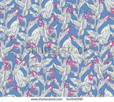 Vector Seamless Pattern Leaves Plant Jungle with Pink on Blue Background - stock vector