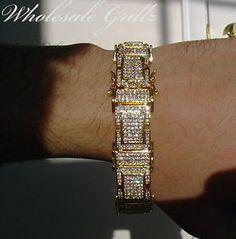 $150 Mens 14k BLACK Gold GP Simulate BLACK Diamond CUSTOM 2 Row HipHop Bracelet!